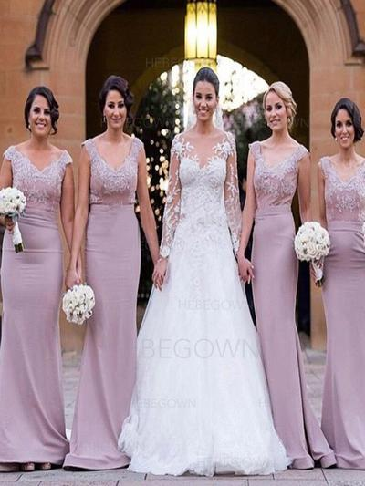 Trumpet/Mermaid Lace Jersey Bridesmaid Dresses V-neck Sleeveless Sweep Train (007144985)