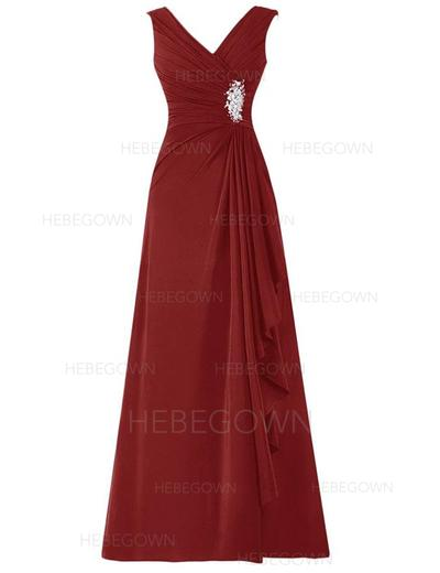 Chiffon Sleeveless Mother of the Bride Dresses V-neck A-Line/Princess Beading Sequins Floor-Length (008146334)