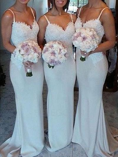 Bridesmaid Dresses Sweetheart Lace Jersey Trumpet/Mermaid Sleeveless Sweep Train (007144960)