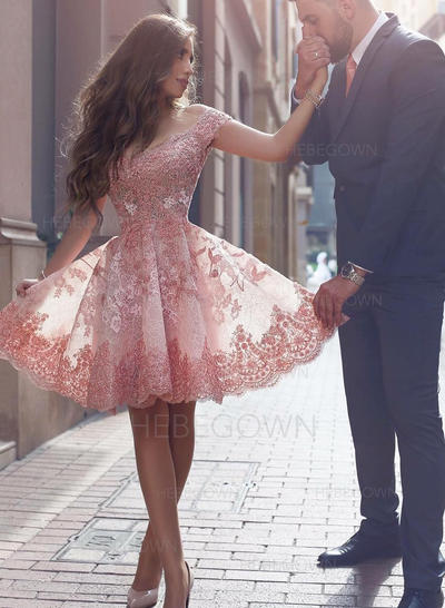A-Line/Princess Ruffle Lace Homecoming Dresses Off-the-Shoulder Short Sleeves Short/Mini (022212378)