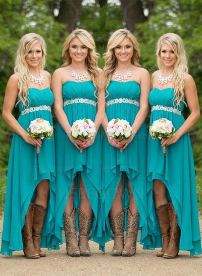 Bridesmaid Dresses Sweetheart Chiffon A-Line/Princess Sleeveless Asymmetrical (007211569)
