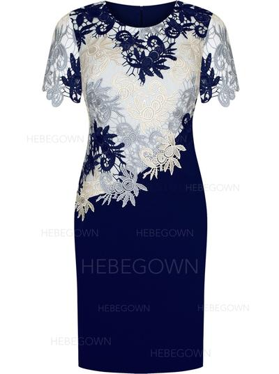 Satin Lace Short Sleeves Mother of the Bride Dresses Scoop Neck Sheath/Column Knee-Length (008146312)