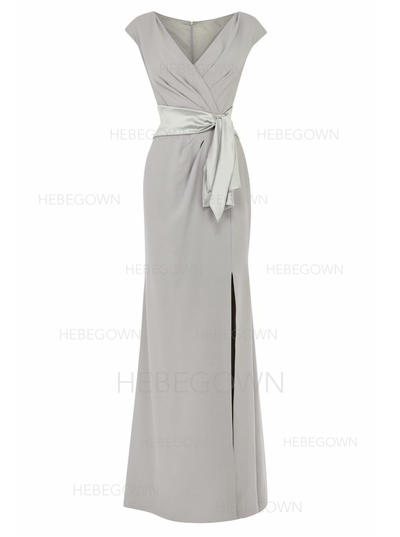 Chiffon Short Sleeves Mother of the Bride Dresses V-neck Empire Split Front Floor-Length (008146317)