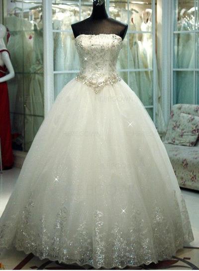 Einfach Tüll Brautkleider Duchesse-Linie Bodenlang Trägerlos Ärmellos (002147826)