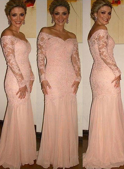 Chiffon Lace Long Sleeves Mother of the Bride Dresses Off-the-Shoulder Trumpet/Mermaid Sweep Train (008146302)