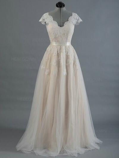 Tüll A-Linie/Princess-Linie Sweep/Pinsel zug V-Ausschnitt Brautkleider Ärmellos (002147931)