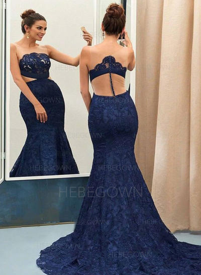 Trumpet/Mermaid Scoop Neck Court Train Lace Evening Dresses (017146193)
