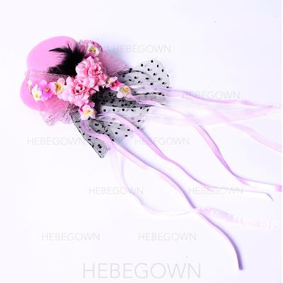"""Fascinators/Blomster og Fjærene Bryllup/Spesielle anledninger/Party Silke blomst/Satin 3.94""""(Ca. 10cm) 3.94""""(Ca. 10cm) Hodepynt (042063446)"""