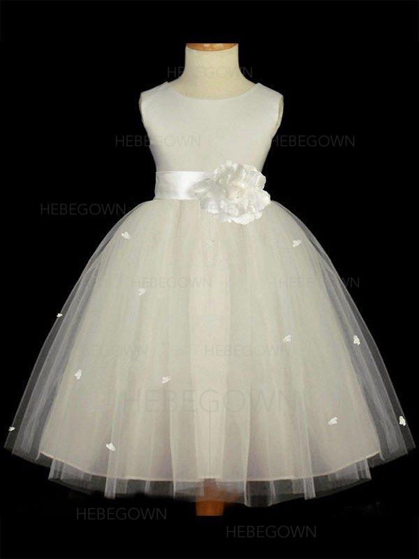 108e009303d Luxurious A-Line Princess Satin Tulle Flower Girl Dresses Tea-length Scoop. Loading  zoom