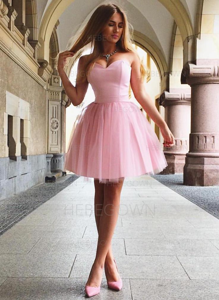 50db021a9814cb A-Lijn Prinses Roes Tule Schoolgala Jurken Liefje Mouwloos Kort Mini  (022216373