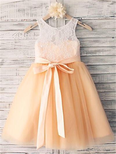 Scoop Neck A-Line/Princess Flower Girl Dresses Tulle/Lace Sash Sleeveless Tea-length (010211897)