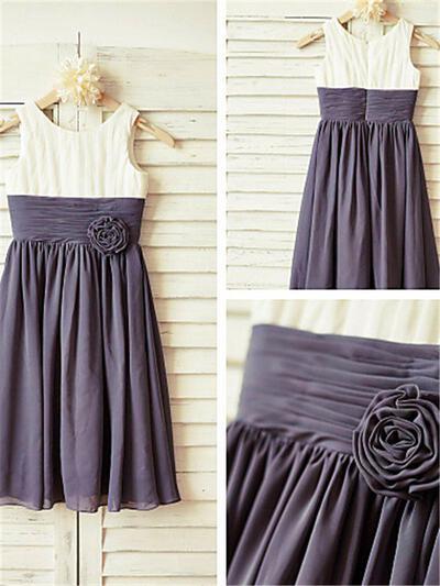 Scoop Neck A-Line/Princess Flower Girl Dresses Chiffon Ruffles/Pleated Sleeveless Ankle-length (010212009)