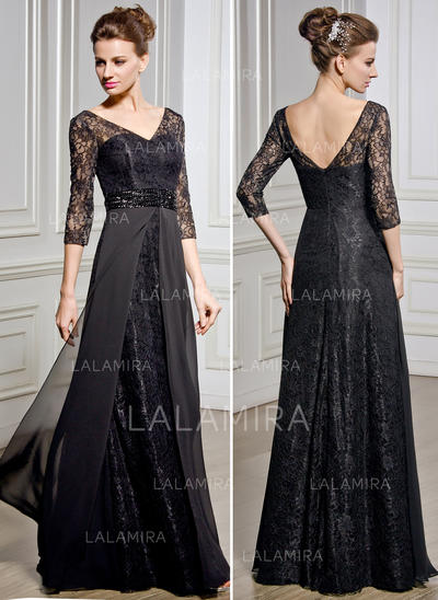 A-Line/Princess Chiffon Lace 1/2 Sleeves V-neck Floor-Length Zipper Up Mother of the Bride Dresses (008057067)