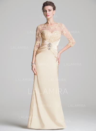 Tubo Decote redondo Longos Charmeuse Vestido para a mãe da noiva com Pregueado Beading Apliques de Renda lantejoulas (008072724)