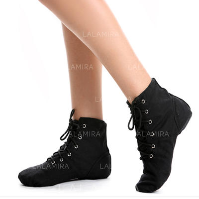 Women's Jazz Flats Boots Canvas Dance Shoes (053183019)