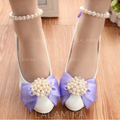 Women's Closed Toe Pumps Stiletto Heel Leatherette With Imitation Pearl Flower Wedding Shoes (047206911)