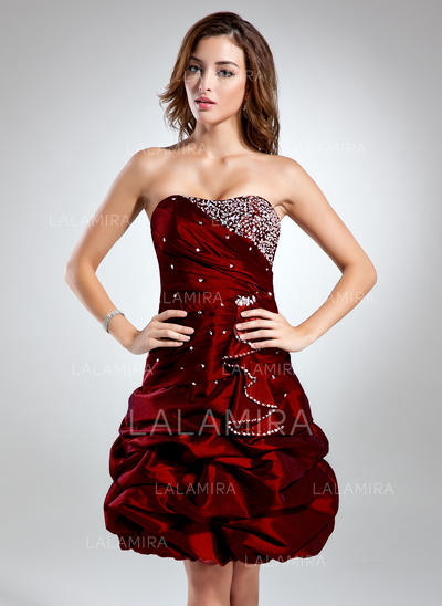 A-Line Sweetheart Knee-Length Taffeta Cocktail Dress With Ruffle Beading (016015529)