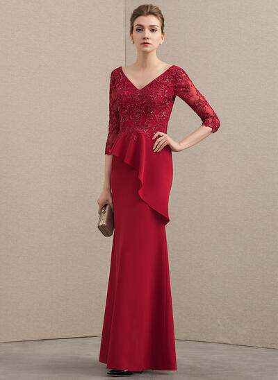 A-Line/Princess V-neck Floor-Length Lace Stretch Crepe Mother of the Bride Dress With Beading Sequins Cascading Ruffles (008152122)