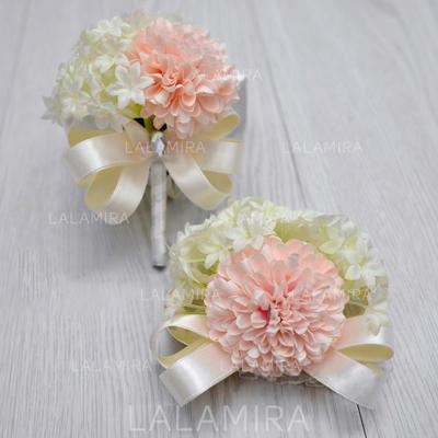 Wrist Corsage/Boutonniere Free-Form Wedding Silk linen With Flower/Bowknot Wedding Flowers (123189918)