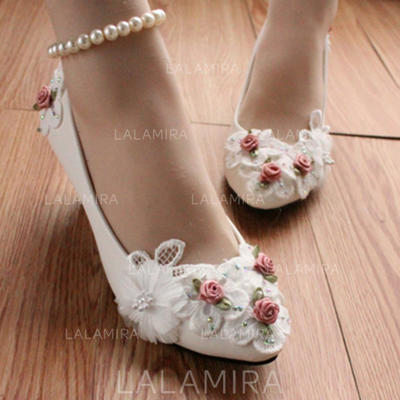 Women's Closed Toe Pumps Stiletto Heel Leatherette With Imitation Pearl Flower Wedding Shoes (047206913)