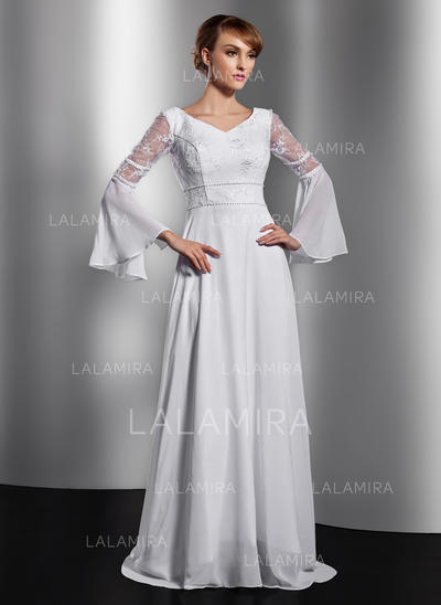 A-Line/Princess Chiffon Long Sleeves V-neck Chapel Train Zipper Up Mother of the Bride Dresses (008211359)