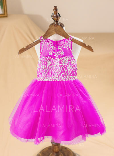 A-Line/Princess Scoop Neck Knee-length With Beading/Back Hole Organza Flower Girl Dresses (010212160)