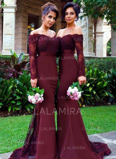 Trumpet/Mermaid Satin Bridesmaid Dresses Lace Off-the-Shoulder Long Sleeves Sweep Train (007211563)