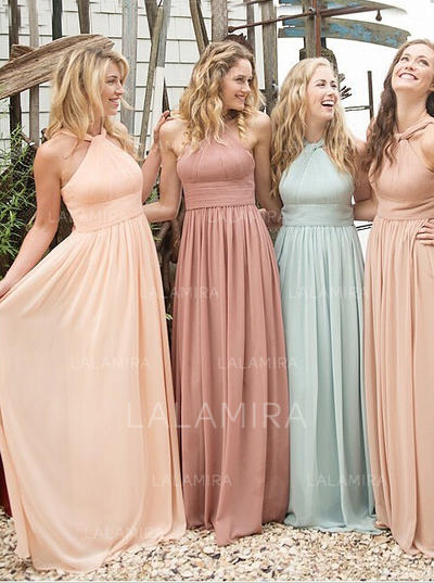A-Line/Princess Scoop Neck Floor-Length Bridesmaid Dresses With Ruffle (007145086)