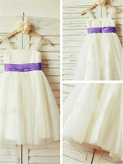 Square Neckline A-Line/Princess Flower Girl Dresses Tulle Pleated Sleeveless Knee-length (010211994)