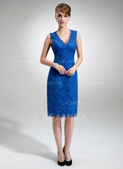 Sheath/Column Lace Sleeveless V-neck Knee-Length Zipper Up Mother of the Bride Dresses (008213107)