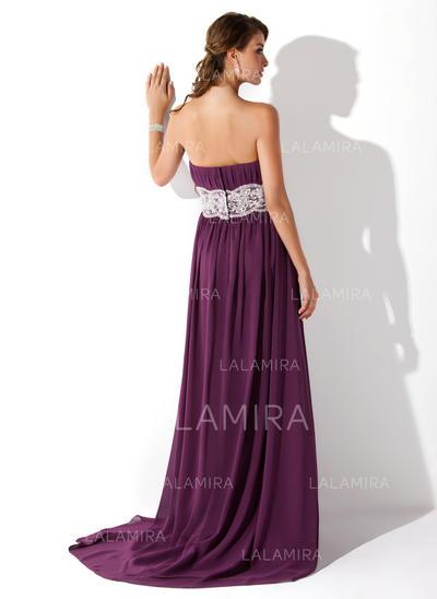 Ruffle Lace Beading Chiffon Prom Dresses