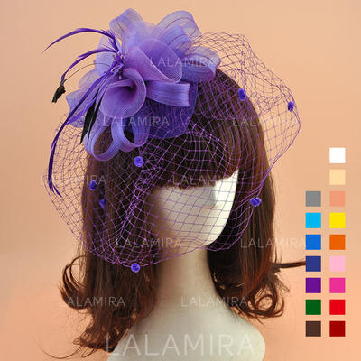 Organza With Feather Fascinators Vintage Ladies' Hats (196195057)