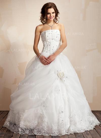 Satiné Organza Robe Marquise Princesse Plissé Dentelle Brodé Fleur(s) Robes de mariée (002021817)