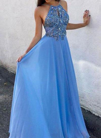 Floor-Length Spaghetti Straps Chiffon A-Line/Princess Prom Dresses (018219381)