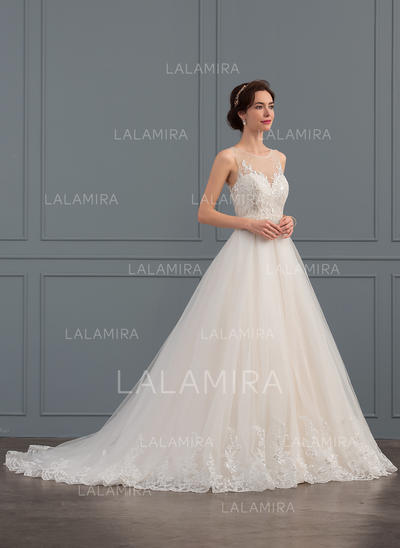 Robe Marquise/Princesse Illusion Traîne moyenne Tulle Dentelle Robe de mariée avec Brodé Paillettes (002134799)