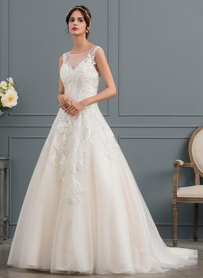 De Baile/Princesa Ilusão Cauda de sereia Tule Vestido de noiva com Beading (002145317)
