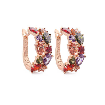 """Earrings Zircon/Rose Gold Plated Pierced Colourful 1.06 """"(Approx.2.7cm) Wedding & Party Jewelry (011164917)"""