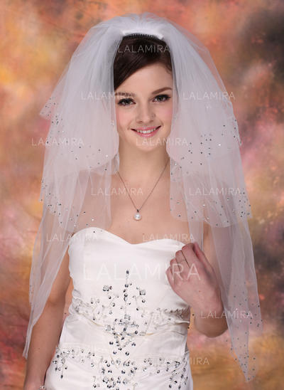 Fingertip Bridal Veils Tulle Four-tier Classic With Cut Edge Wedding Veils (006150902)