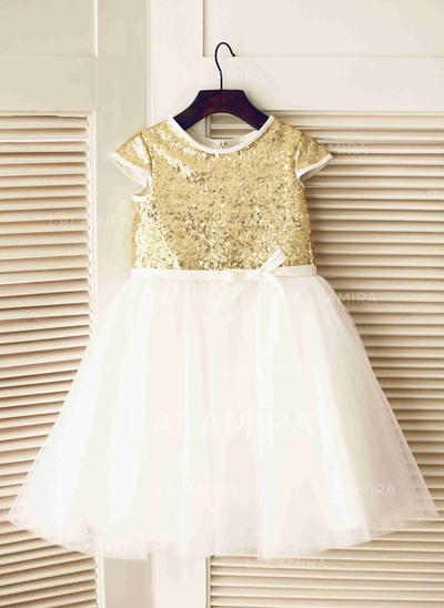 Stunning Scoop Neck A-Line/Princess Flower Girl Dresses Knee-length Tulle Short Sleeves (010196721)