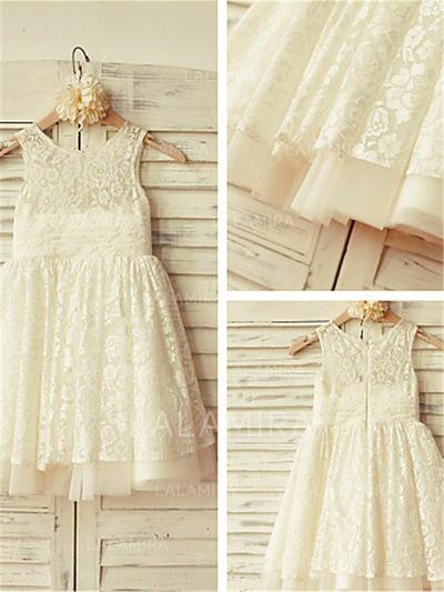 Scoop Neck A-Line/Princess Flower Girl Dresses Lace Pleated Sleeveless Knee-length (010211778)