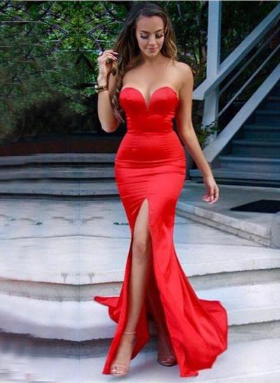 Trumpet/Mermaid Sweep Train Prom Dresses Sweetheart Charmeuse Sleeveless (018146583)