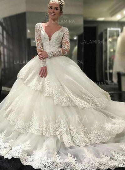 Royal Train Ball-Gown Sleeves - Tulle Lace Wedding Dresses (002146243)