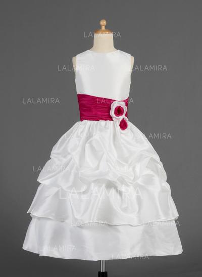 Chic Escote redondo Corte A/Princesa Tafetán Vestidos para niña de arras (010014623)
