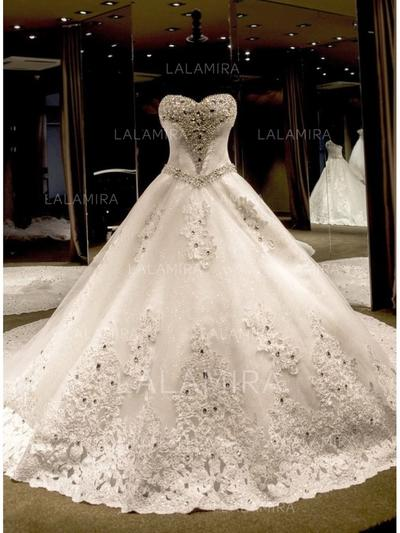 Elegant Royal Train Beading Appliques Sequins Bow(s) With Tulle Lace Wedding Dresses (002147819)