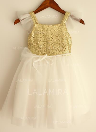 Flattering Straps A-Line/Princess Flower Girl Dresses Knee-length Tulle/Sequined Short Sleeves (010196726)