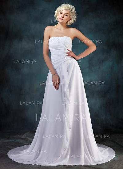 Newest Sleeveless Sweetheart With Chiffon Wedding Dresses (002210457)