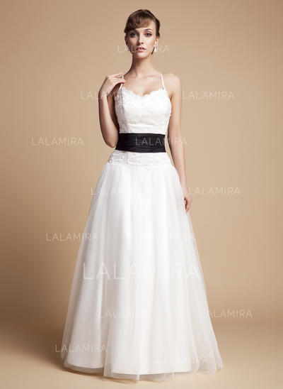 A-Line/Princess Ruffle Sash Beading Bow(s) Tulle Lace Floor-Length Three-dimensional Wedding Dresses (002000131)