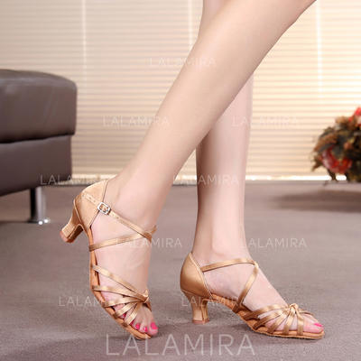 Women's Latin Heels Sandals Satin With Ankle Strap Dance Shoes (053179642)