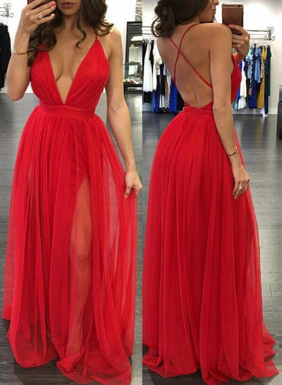 A-Line/Princess Sleeveless Floor-Length Tulle Evening Dresses (017145417)