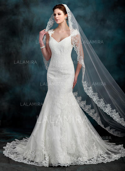 Cathedral Bridal Veils Tulle One-tier Oval/Drop Veil With Lace Applique Edge Wedding Veils (006150965)